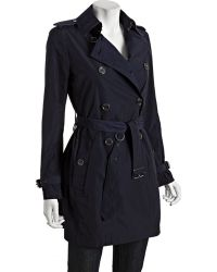 Burberry Brit Navy Double Breasted Buckingham Belted Trench - Lyst