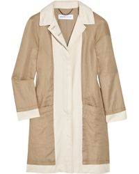 See By Chloé Two-tone Linen and Cotton-blend Gabardine Coat - Lyst