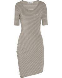 T By Alexander Wang Asymmetric Striped Stretch-modal Dress - Lyst