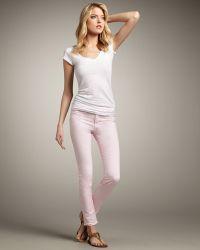J Brand 811 Mid-rise Skinny Twill Jeans, Pretty Pink - Lyst