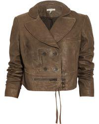 Twenty8Twelve Babette Cropped Leather Jacket - Brown