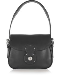 Ralph Lauren Collection Hand-sewn Small Leather Cartridge Bag - Black