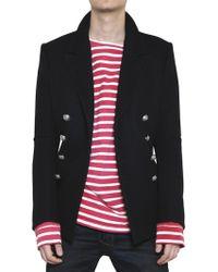 Balmain Double Breasted Wool Cloth Coat - Black