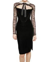 Emilio Pucci Lace Sleeved Viscose Velvet Dress - Lyst