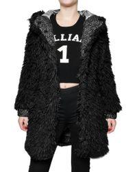 John Galliano Hooded Faux Fur Coat - Black