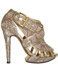 Nicholas Kirkwood 120mm Metallic Embroidered Sandals - Lyst