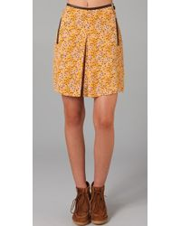 See By Chloé Floral Skirt with Front Pleat - Lyst