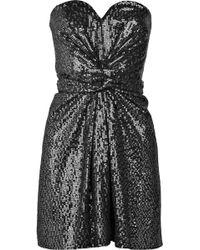 Issa Strapless Sequined Silk Dress - Lyst