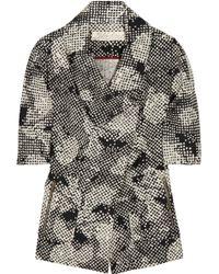 Lela Rose Long-sleeve Scroll Guipure Lace Jacket - Black