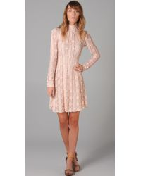 RED Valentino Long Sleeve Lace Dress pink - Lyst