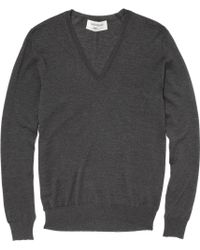 Saint Laurent V-neck Wool Jumper - Grey