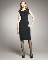 Oscar de la Renta Ruffle-neck Stretch Wool Dress - Lyst
