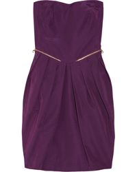 See By Chloé Pleated Strapless Cotton-blend Dress - Lyst