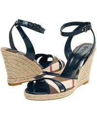 Burberry Check Patent Leather Wedge Espadrille - Lyst