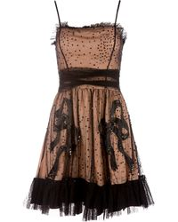 RED Valentino Long Sleeve Dress with Lace Skirt black - Lyst