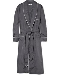 Turnbull & Asser Belted Cotton Dressing Gown - Grey