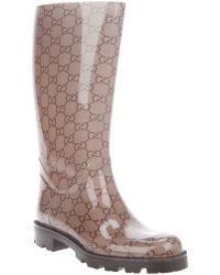 Gucci Monogrammed Wellies - Brown