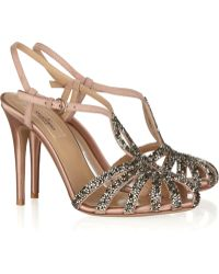 Valentino Crystal-embellished Suede and Satin Sandals - Lyst