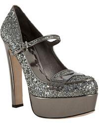 Miu Miu Anthracite Glitter Platform Penny Loafer Pumps silver - Lyst