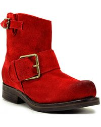 Jeffrey Campbell Blush - Red Suede Buckle Bootie - Lyst