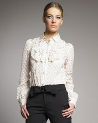 RED Valentino Dotted Blouse with Bib - Lyst