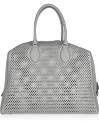 Alaïa Perforated Leather Tote gray - Lyst