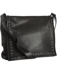 419ec39ebc Bottega Veneta - Black Leather Flap Messenger Bag - Lyst