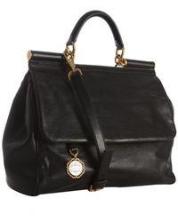 Dolce & Gabbana Black Leather Bar Top Handle Crossbody Bag - Lyst