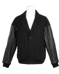 Alexander Wang Brushed Felt Varsity with Clafskin Sleeves Blazer/teddy Jacket - Lyst