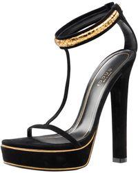 Gucci Leight T-strap Sandal black - Lyst
