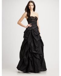 ML Monique Lhuillier Lace and Taffeta Strapless Ball Gown - Lyst