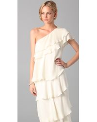 Rachel Zoe Ruffle Maxi Gown - White
