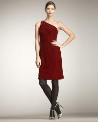 Ralph Lauren Velvet One-shoulder Dress - Lyst