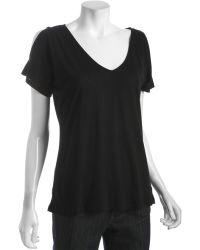 Rebecca Beeson - Black Cotton-modal Cut Out Shoulder T-shirt - Lyst