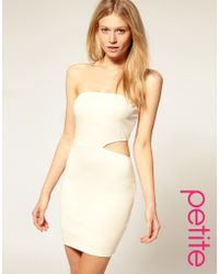 ASOS Collection Asos Petite Bandeau Bodycon Dress with Cut Out Side - Lyst
