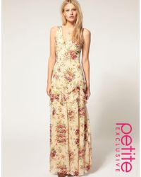 ASOS Collection Asos Petite Exclusive Premium Floral Print Cut Out Back Maxi Dress - Lyst