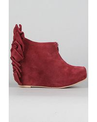 Jeffrey Campbell The Back Bow Shoe in Wine Suede - Lyst