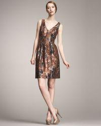 Lela Rose V-neck Brocade Dress - Lyst
