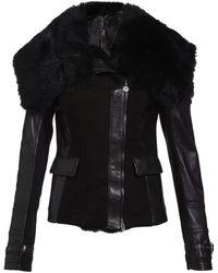 Patrizia Pepe Shearling and Leather Biker Jacket - Lyst