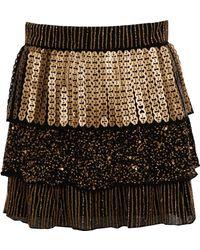 Alice + Olivia Petra Ruffle Skirt gold - Lyst