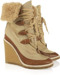 Chloé Canvas and Leather Wedge Ankle Boots - Natural