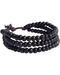 ASOS - Asos Triple Beaded Black Bracelet - Lyst