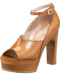 Chloé Peep-toe Platform Clog - Brown