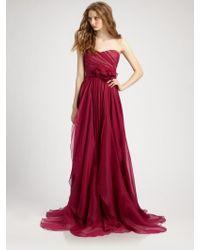 Notte by Marchesa Silk Chiffon Strapless Empire Waist Gown - Lyst
