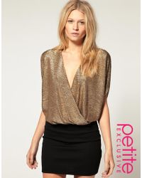 ASOS Collection Asos Petite Exclusive Wrap Dress with Metallic Top - Lyst