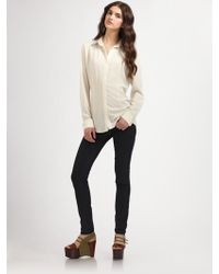 Elizabeth And James Clarkson Leather Collar Shirt - Lyst