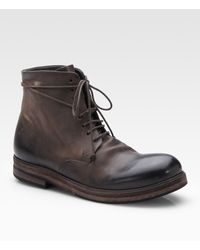 Marsell Rustic Leather Ankle Boots - Lyst