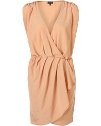Topshop Plain Drape Front Dress - Lyst