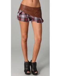 L.A.M.B. - Plaid & Leather Combo Shorts - Lyst