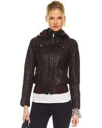 Michael Kors Hooded Leather Jacket - Lyst